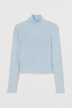 H&M Fitted Mock-turtleneck Sweater - Turquoise