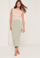 Missguided Longline Jersey Midi Skirt Green