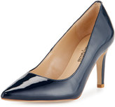 Neiman Marcus Cissy Patent Leather Pointed-Toe Pump, Navy