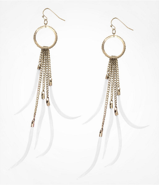 Express Circle Drop Feather Fringe Earrings