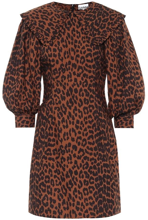 Ganni Leopard-print cotton minidress