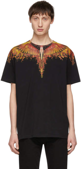 Marcelo Burlon County of Milan Black and Red Flame Wings T-Shirt
