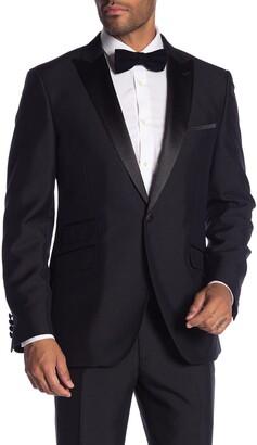 Savile Row Co Thruxton Black One Button Peak Lapel Modern Fit Tuxedo Jacket