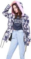 Juicy Couture Faux Fur Hood Floral Camouflage Parka