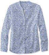 L.L. Bean Wrinkle-Free Pinpoint Oxford Shirt, Long-Sleeve Splitneck Slightly Fitted Floral