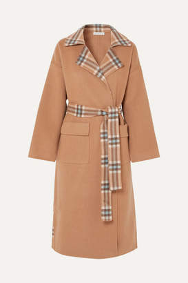 REJINA PYO Meryl Convertible Paneled Checked Wool-blend Coat - Camel