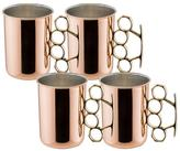 Old Dutch 20 oz. Brass Knuckle Moscow Mule Mug in Nickel Lined and Lacquered (Set of 4)
