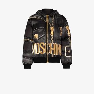 Moschino Marco Biker-print puffer jacket