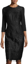 Alexia Admor 3/4-Sleeve Embroidered-Lace Panel Dress, Black