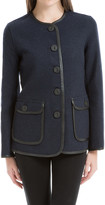 Max Studio Wool Flannel Jacket With Leather Binding