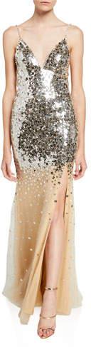 Jovani V-Neck Mirror Sequined Spaghetti-Strap Gown