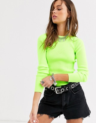 Bershka bright knitted top in lime green