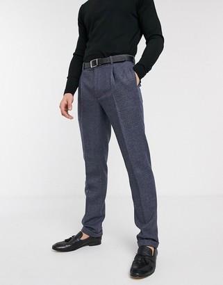ASOS DESIGN slim suit pants in wool mix in blue tweed