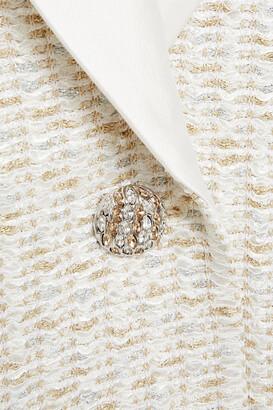 St. John Satin-trimmed Metallic Tweed Blazer