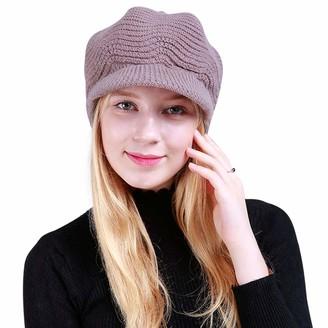 DORRISO Fashion Beret Cap Autumn Winter Plain Warm Leisure Vacation Travel Street Style French Beret Womens Girls Beret Hat Wool Khaki