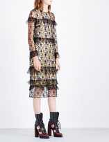 Burberry Floral-embroidered ruffle tulle dress