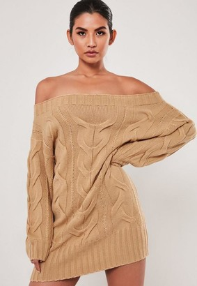 Missguided Tan Cable Knit Bardot Sweater Dress