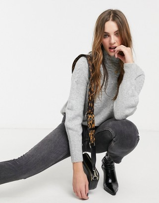 Topshop cable jumper in grey marl