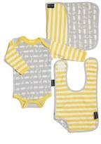 Infant Boy's Bella Tunno Bodysuit, Bib & Burpie Cloth Set
