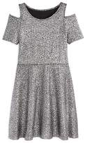 Aqua Girls' Metallic-Dotted Cold-Shoulder Dress, Big Kid - 100% Exclusive