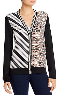 Tory Burch Mixed-Print Merino-Wool Cardigan
