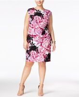 Connected Plus Size Floral-Print Sheath Dress