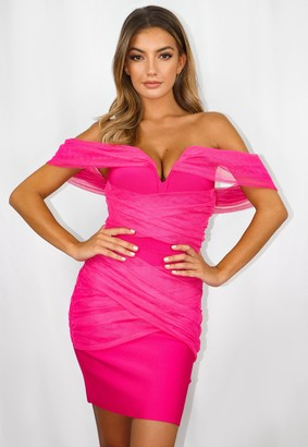 Missguided Hot Pink Mesh Ruched Bardot Bandage Mini Dress