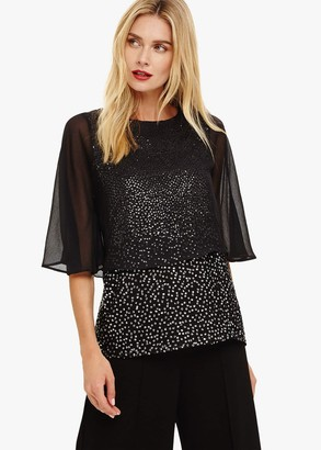 Phase Eight Iiona Double Layer Sequin Blouse