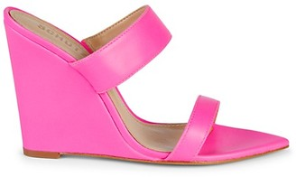 Schutz Soraya Leather Strappy Wedge Sandals