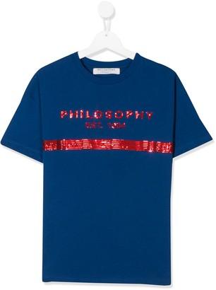 Philosophy Di Lorenzo Serafini Kids TEEN sequin logo T-shirt