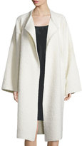 Helmut Lang Long Shaggy Alpaca-Blend Coat, Cream