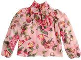 Dolce & Gabbana Roses Printed Silk Chiffon Shirt W/ Bow