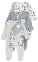 George 3 Pack Bear and Moon Sleepsuits