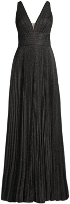Jovani Metallic Pleated V-Neck Gown