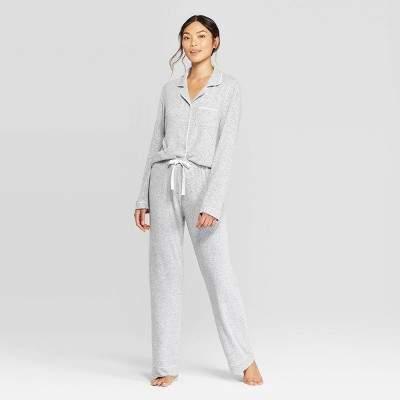 Women's Perfectly Cozy Notch Collar Pajama Set - Stars AboveTM Light Gray