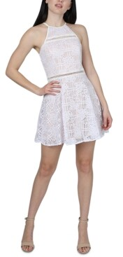 Jump Juniors' Floral Lace Fit & Flare Dress