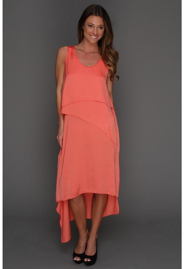 BCBGMAXAZRIA Reese Draped Tank Dress (Coral) - Apparel