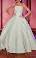 Brandon Maxwell Strapless Drop Waist Ball Gown