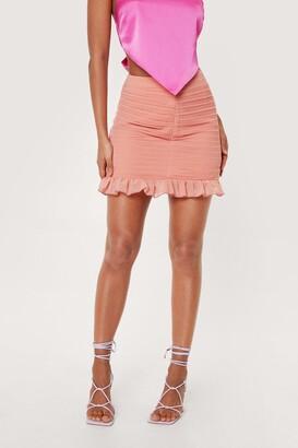Nasty Gal Womens High Waisted Ruched Ruffle Hem Mini Skirt - Orange - 12