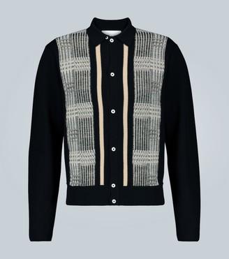 King And Tuckfield Paneled merino wool cardigan