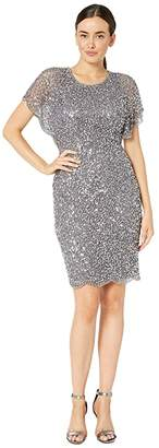 Adrianna Papell Flutter Sleeve Beaded Cocktail Dress with Pearl Edge Detail