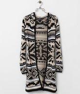 Daytrip Women's Southwestern Print Cardigan Sweater in Khaki/Black