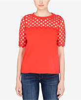 Catherine Malandrino Cotton Lattice-Trim T-Shirt