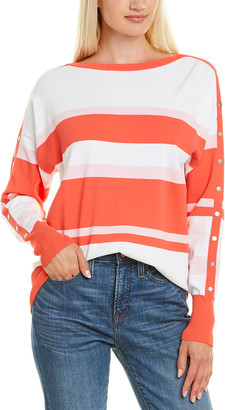 Autumn Cashmere Striped Boatneck Snap Top