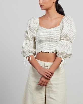 Faithfull The Brand Women's White Cropped tops - Harlyn Top - Size 6 at The Iconic
