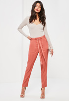 Missguided Pink Satin Pocket Belted Cigarette Trousers