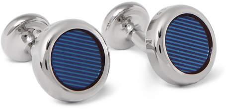 HUGO BOSS Gil Silver-Tone and Enamel Cufflinks - Blue