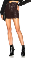 RtA Gisele Leather Skirt in Brown.