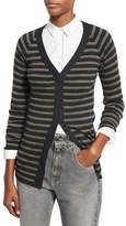 Brunello Cucinelli Metallic-Stripe Wool-Cashmere V-Neck Cardigan, Gray/Green