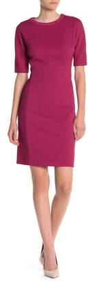Maggy London Arc Shoulder Jewel Neck Sheath Dress